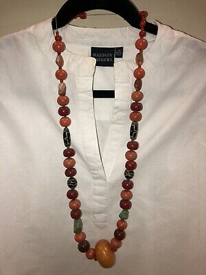 ANTIQUE OLD CHINESE CARNELIAN, Coral, Tiger Eye, GREEN JADE BEAD NECKLACE 24""