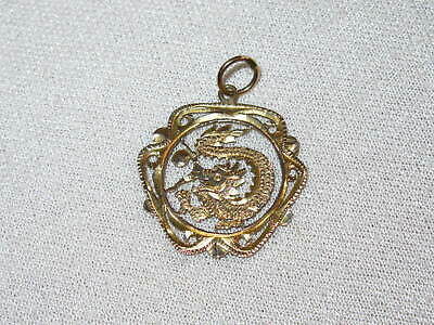14K Yellow Gold Pierced Chinese Dragon Charm Pendant 14K & 585 Markings