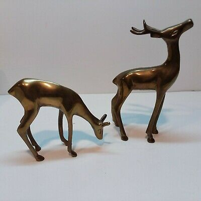 "Pair of Vtg Brass Deer Buck & Doe Figurines  6 1/2"" Tall"