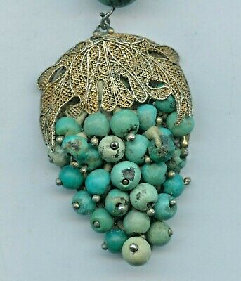 """Antique Chinese Export Gold Tone Silver Filigree Coral Turquoise Necklace 16"""""""