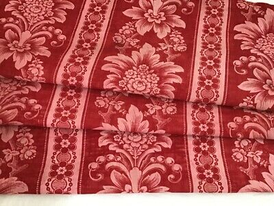 Antique French Printed Red Toile Cotton Fabric 19th century Floral Pink