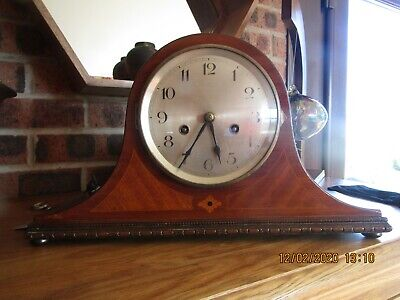 Inlaid Mahogany Chiming Mantel Clock
