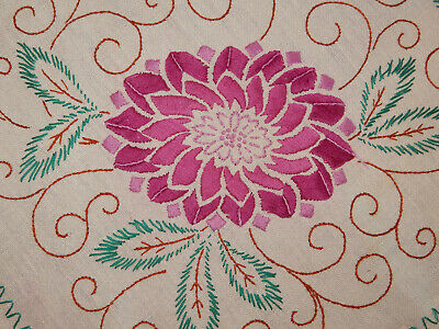 "Outstanding Embroidered Floral Table Topper 31 3/4"" x 32 1/2"""