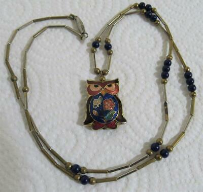 vintage Chinese cloisonne necklace & owl bird pendant 1950`s China cloisonné