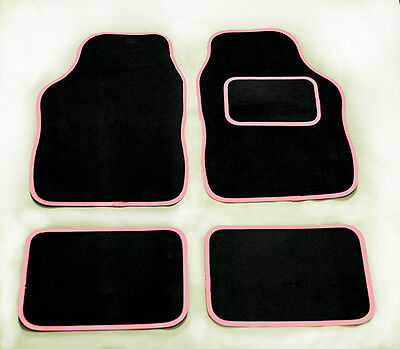 HYUNDAI COUPE (2002 ON) UNIVERSAL Car Floor Mats Black & PINK