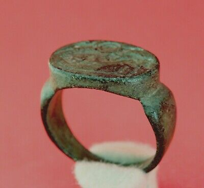 Ancient Roman Bronze Ring Warrior And Horse 1-2Ad