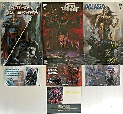 Lot 3 Parrillo Variants Batman Superman Bat Who Laughs Grim Knight Dceased w/COA
