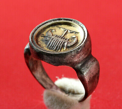 Ancient Galley Roman Ring - Silver Goldplate 2-3Ad