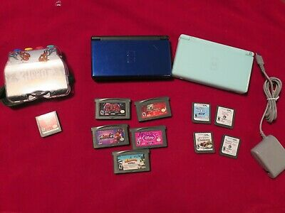 2 Nintendo DS Lite Consoles With 10 Games and Guitar Hero