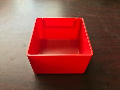 """LISTA Drawer Accessories » Lot of 64 Red Plastic Boxes PB-5 3"""" x 3"""" x 2"""" $40.00"""