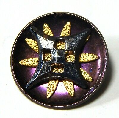 ANTIQUE MID-19th CENTURY VIOLET TINTED STEEL CUP BUTTON w/GILT BRASS & CUT STEEL