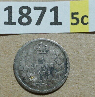 1871 5 Cent CANADA .925 SILVER COIN QUEEN VICTORIA VERY GOOD 1,400,000  MINTED