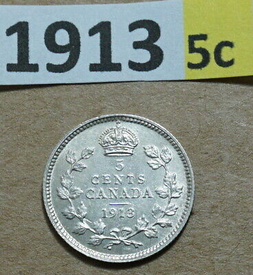 1913  5 Cent CANADA .925 SILVER COIN KING GEORGE V  EXTRA FINE 5,588,048