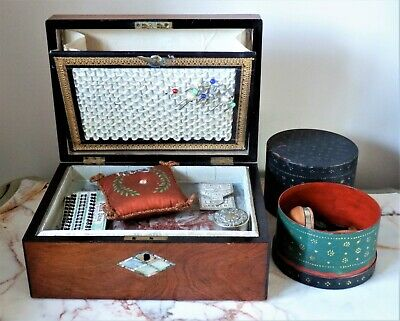 Antique Wooden Mother Of Pearl Inlaid Sewing Work Box With Contents