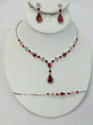 Silver Clear & Red Rhinestone Crystal Necklace Set Bridal Wedding Prom Jewelry