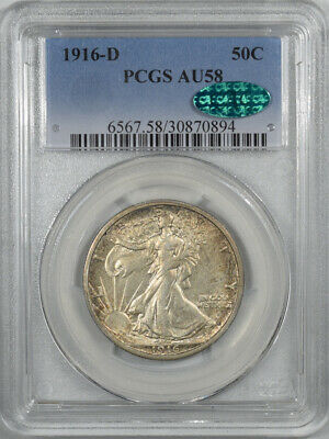 1916-D Walking Liberty Half Dollar Pcgs Au-58 Cac Approved