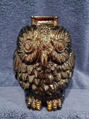 Vintage Wise Old Owl Wheaton Glass Bank amber, owl collection, coins, Halloween