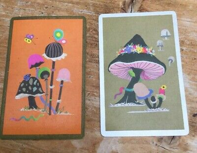 Swap two pair of vintage kitsch game playing cards Psychedelic Mushrooms 60s