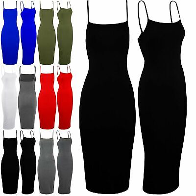 Womens Cami Sleeveless Ladies Strappy Plain Summer Bodycon Stretchy Midi Dress