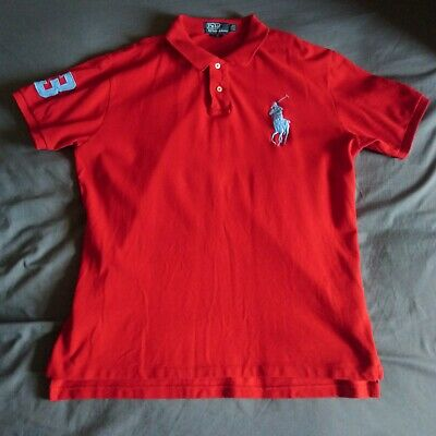 Ralph Lauren 3XL Red Short Sleeved Polo Shirt Large Blue Pony & '3'