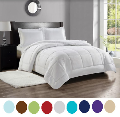 8 Piece Bed-In-A-Bag Hotel Dobby Embossed Comforter Sheet Bed Skirt Sham Set NEW