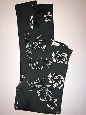 NWT GIRL'S JUSTICE GRAY Full Length LEGGINGS SIZE 12. Black And Light Teal Roses