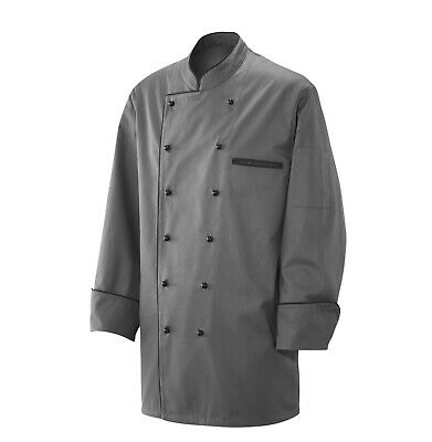 Exner Chef Jacket Bakers Jacket Piping Chef's Jacket Gray with Black Piping