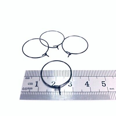 20mm Black Stainless Steel Hoop Ear Wire 50 Pieces - 2wards Polymer Clay & Cr...