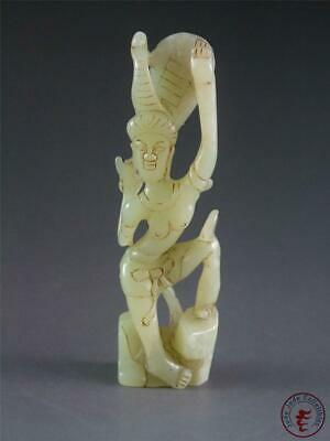 Fine Old Chinese Celadon Nephrite Jade Statue DANCING FAIRY GIRL ~ SPECIAL