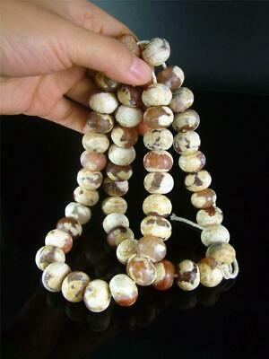 Long Antique Old Chinese Agate Carnelian Carved Prayer Beads Necklace