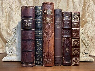OLD ANTIQUE LEATHER BOOK LIBRARY  COLLECTION (Lot of 6) GORGEOUS!!