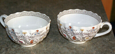 2 COPELAND SPODE FLORENCE CHINA  FLAT COFFEE CUPS  jh