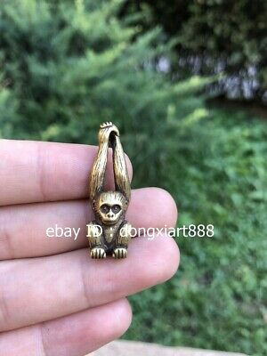 3.5 CM Pure Bronze Copper Chinese Zodiac Animal Long arm Monkey Amulet Pendant