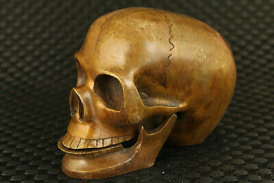 chinese old bronze handmade cool skull statue decoration gift collect big