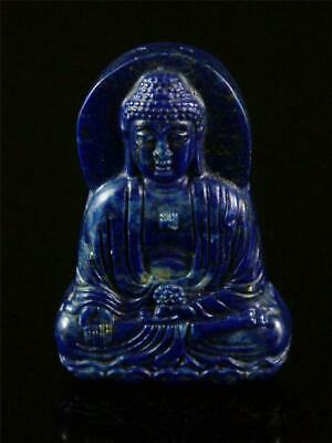 Antique Old Chinese Natural Lapis Lazuli Carved Toggle Pendant Netsuke BUDDHA