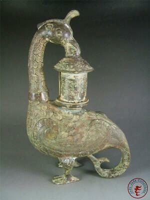 Very Large Fine Old Chinese Bronze Incense Burner Incenser Statue PHOENIX STYLE