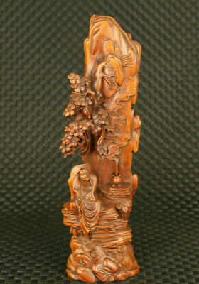unique chinese old boxwood handmade buddha under tree figure collectable Statue
