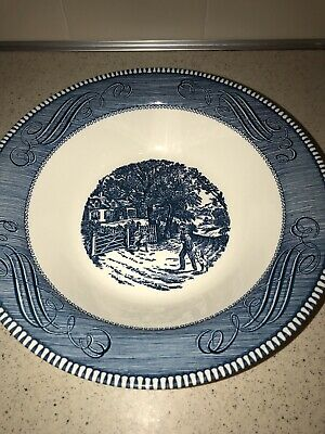 """Currier & Ives - Royal Made in USA 10"""" Serving Bowl Blue White Home Sweet Home"""