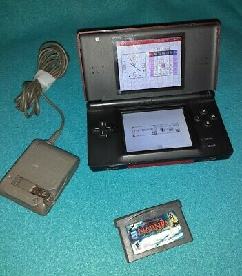 Nintendo DS Lite Crimson Red Console USG-001 w/ Charger + 1 Game missing Stylus