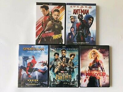 5 Marvel DVD Lot Ant man and the Wasp Captain Black Panther Movie Colletion
