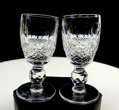 """Waterford Ireland Signed Colleen Crystal Short Stem 2 Pc 3"""" Cordials 1968-2018"""