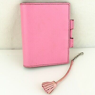 Auth HERMES AGENDA PM Notebook Cover Leather Pink & CARMENCITA 13 Set