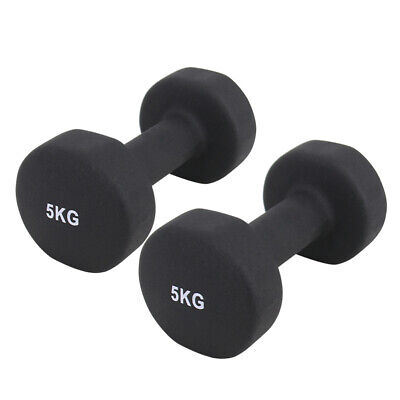 Neoprene Hex Dumbbells Cast Iron Weights Home Gym Exercise Ladies Black 10kg