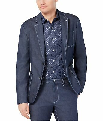 Michael Kors Mens Chambray Two Button Blazer Jacket, Blue, 40 Regular