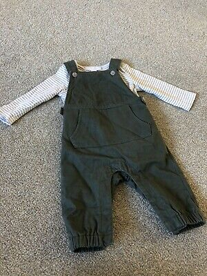 The Little White Company 0-3 Month Dungaree Set