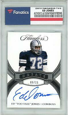 "Ed ""Too Tall"" Jones Dallas Cowboys Signed 2017 Panini Flawless #GR-TT #9/15 Card"