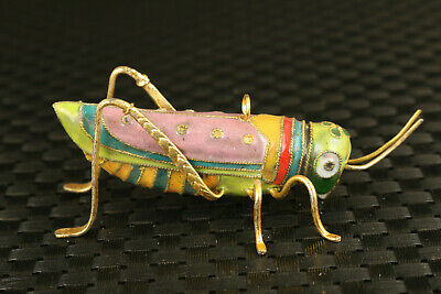 old Chinese Cloisonne Hand pinting locust Statue pendant collectable gift