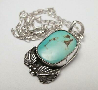 Native American Navajo Sterling Silver & Dry Creek Turquoise Necklace Signed Bfw