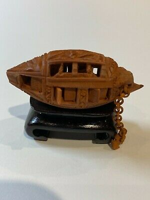 "Antique Chinese olive pit nut stone carved boat & stand 2"" movable shutters"