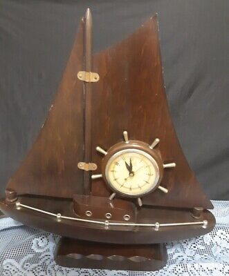 Rare Electric Self Starting Mantle/ Table Ship Clock By United